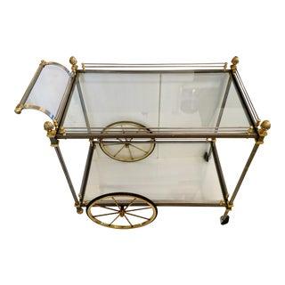 Vintage Nickel & Brass Bar Cart