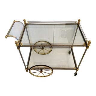 Vintage Nickel & Brass Bar Cart