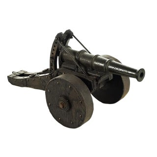 Antique Iron Cannon Model with Wooden Wheels