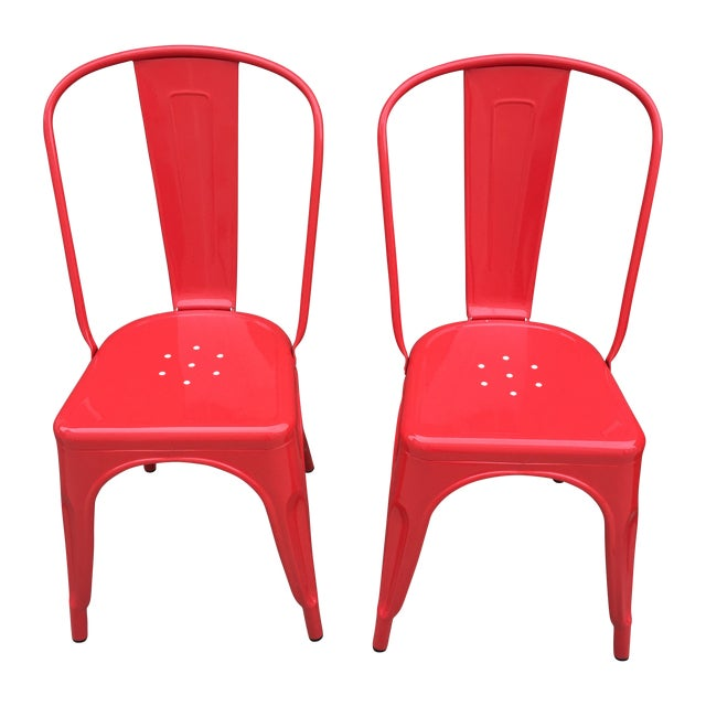 Red Tolix Style Metal Dining Chairs - A Pair - Image 1 of 4
