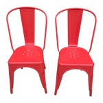 Image of Red Tolix Style Metal Dining Chairs - A Pair
