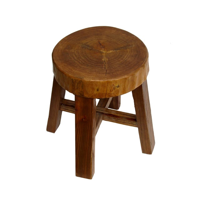 Chinese Rustic Bold Wood Round Stool - Image 4 of 5