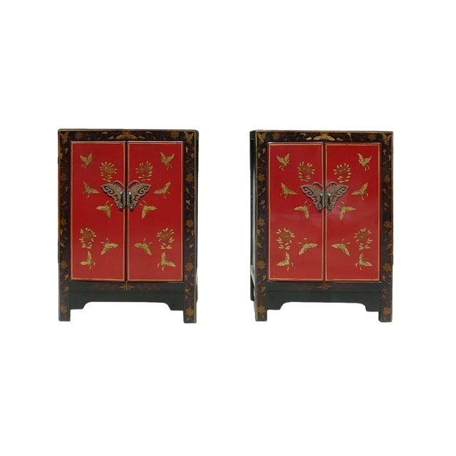 Image of Red Black Golden Butterflies Table Nightstand - 2