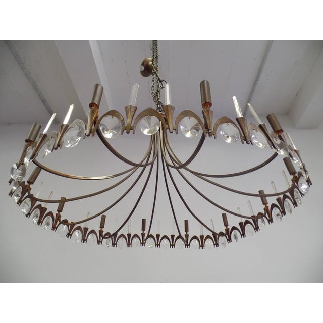 Italian Modern Neoclassical Gilt Bronze and Crystal Chandelier - Image 2 of 9