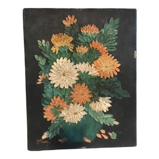 Early 20th Century Impasto Painting of Flowers