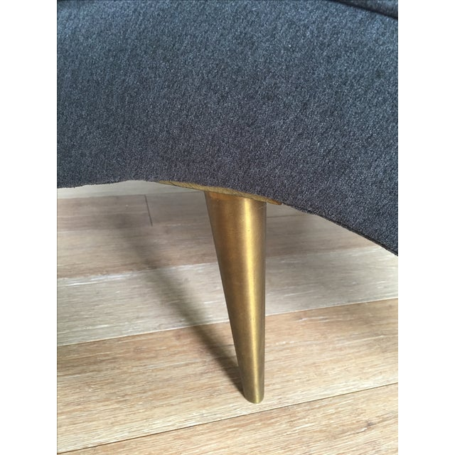 Mid-Century Brass Legged Chaise - Image 4 of 5