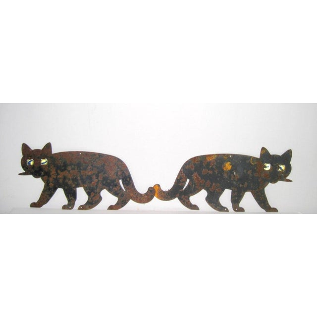 Metal Black Cats with Marble Eyes - A Pair - Image 5 of 5