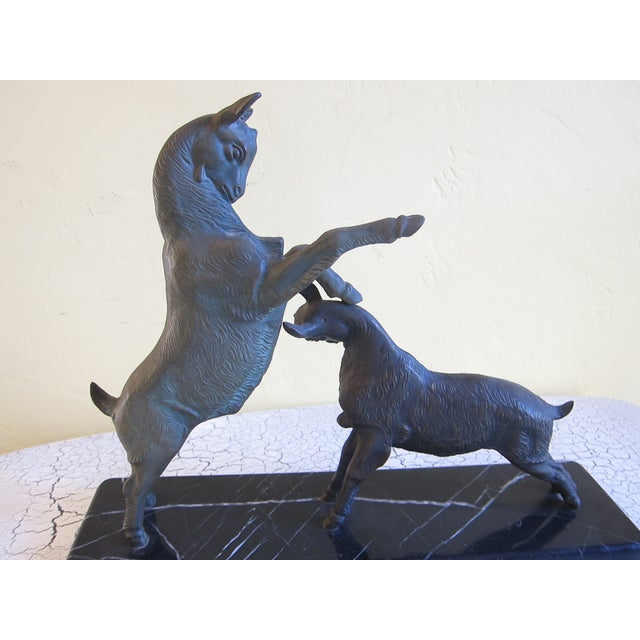 Image of Vintage Art Deco Bronzed Rutting Goats on Marble