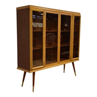 Mid-Century Cherry and Maple Bookcase Cabinet