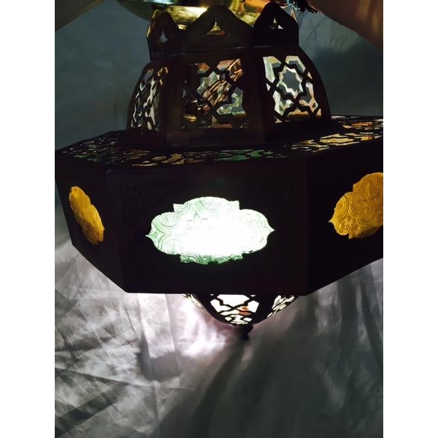 Small Moroccan Brass & Glass Chandelier - Image 7 of 7