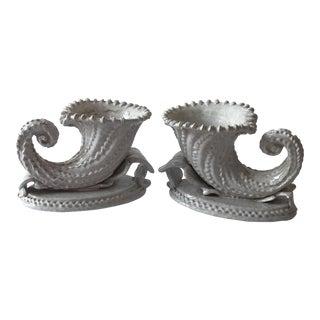 Italian Faience Ceramic Cornucopia Bookends - A Pair