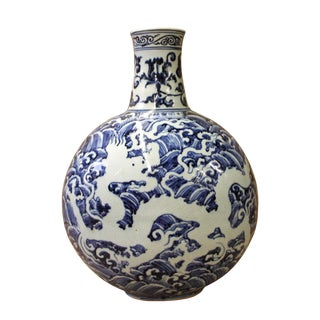 Chinese Blue White Porcelain Dragon Graphic Fat Body Vase