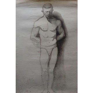 1920's Male Figure Study in Charcoal