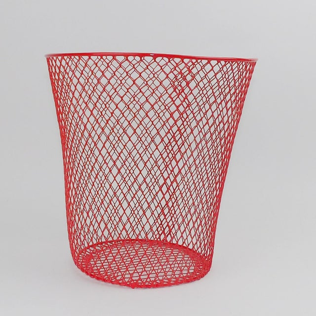 Vintage Mid-Century Modern Red Wire Metal Waste Bucket - Image 5 of 11