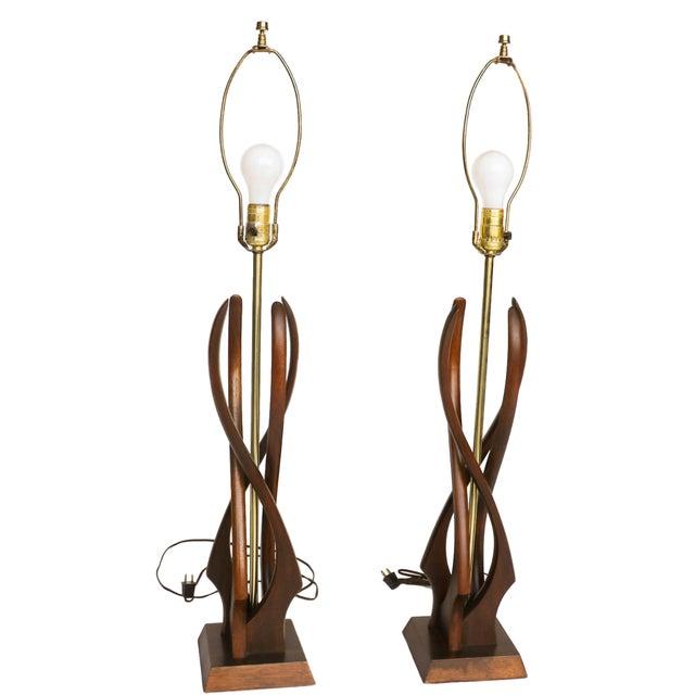 Pair Mid Century Sculptural Teak Wood Lamps - Image 3 of 9