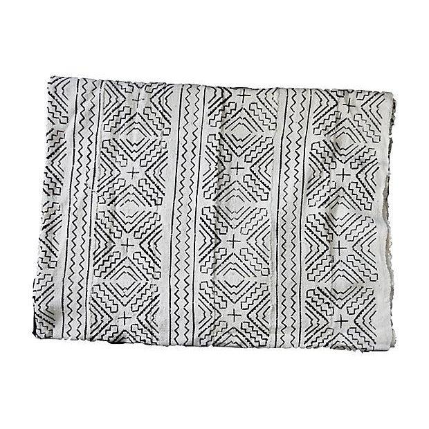 Lg Black & White Mali Mud Cloth Textile - Image 5 of 7