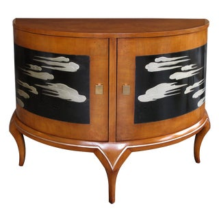 Chic American 1940s Maplewood Demilune Cabinet by Robert W. Irwin Co