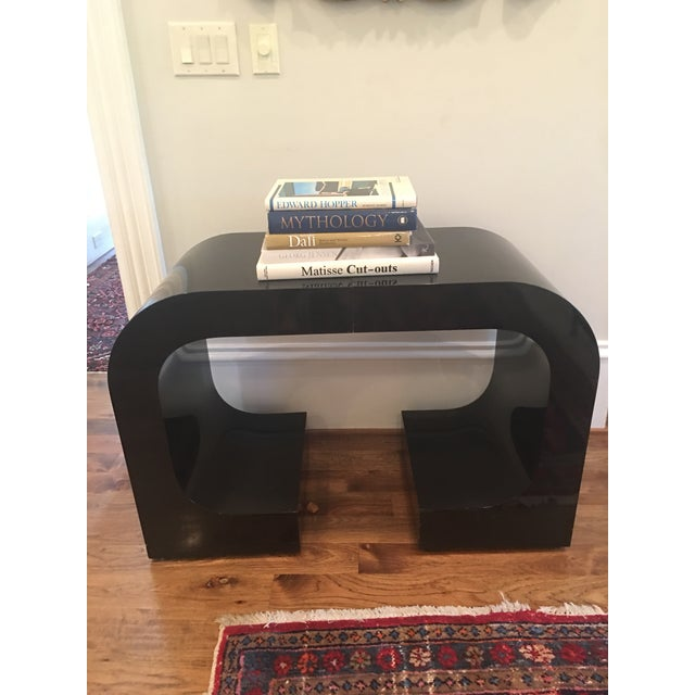 Vintage Lacquered Black Fitted Side Tables - A Pair - Image 8 of 11