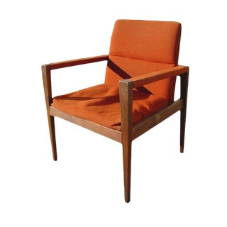 Vintage Scandinavian Jens Risom Mahogany & Orange Upholstered Lounge Chair