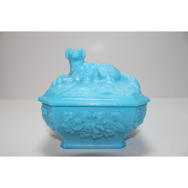French Portieux Vallersthal Blue Opaline Box - Image 11 of 11
