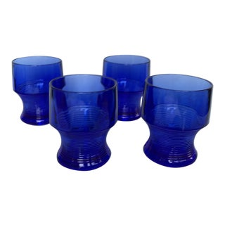 Vintage Depression Cobalt Blue Glasses - Set of 4