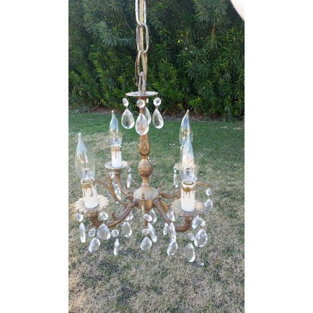 Image of Vintage Brass & Crystal Chandelier