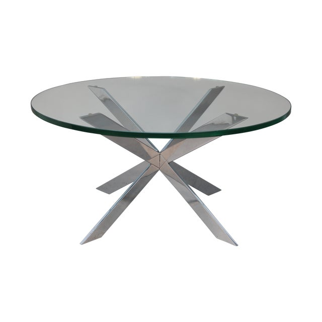 Leon Rosen for Pace Chrome Star Base Coffee Table - Image 1 of 6