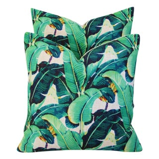 Tropical BoHo Chic Banana Leaf Patterned Feather/Down Pillows - Pair
