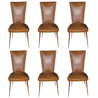 1940s Vintage Italian Art Modern Walnut Dining Chairs - Set of 6