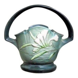 Roseville Pottery Green Freesia Basket Vase