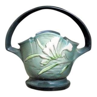 Roseville Pottery Green Freesia Basket Vase