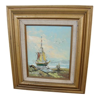 Mid-Century Impressionist Painting of Anchored Ship