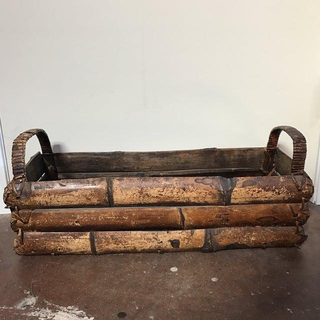Asian Style Bamboo Trough Handled Basket - Image 3 of 9