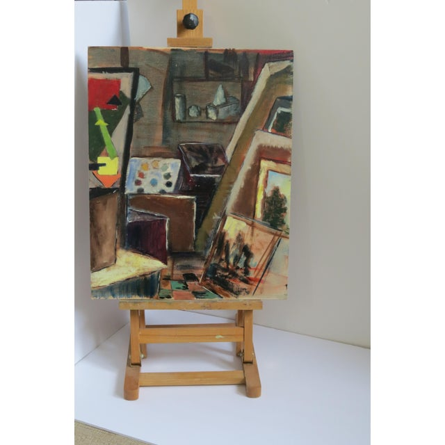 "Trudy Taylor ""Artist's Studio"" Abstract Oil Painting - Image 2 of 5"