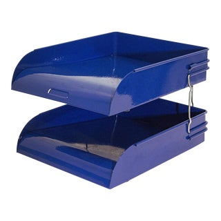 Art Deco Two-Tier Letter Tray in Royal Blue