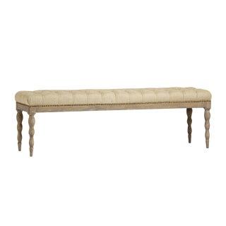 Tufted Linen Oak Bench