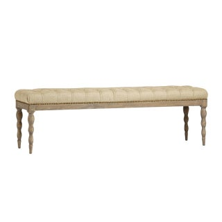 Tufted Linen Oak Bench
