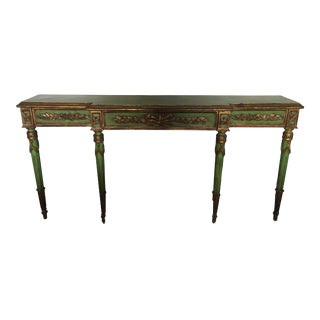 Vintage Green & Gold Wood Console Table