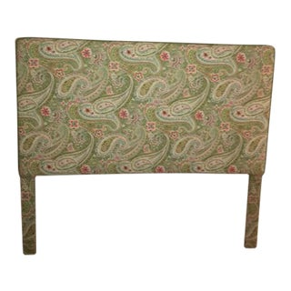 Green Paisley Print Custom Headboard & Pleated Bed Skirt- A Pair