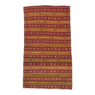 Vintage Striped Turkish Kilim Rug - 5′3″ × 9′2″