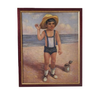 Boy at the Beach Framed Painting