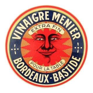 1930s French Art Deco Round Food Label, Vinegar