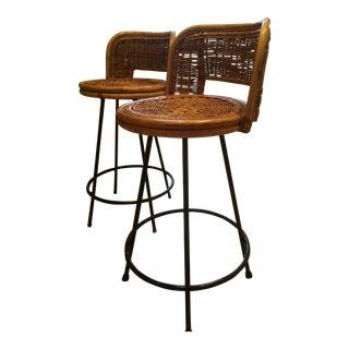 Tony Paul Style Vintage Rattan & Bamboo Swivel Bar Stools- A Pair