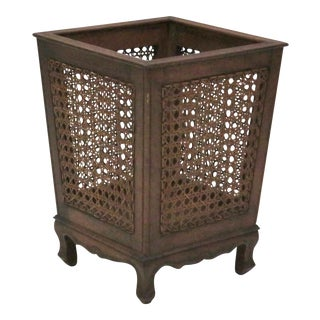 Lord & Taylor Italian Walnut & Caned Waste Basket
