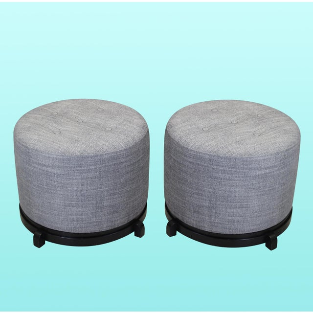 Vintage Mid-Century Gray Ottomans - A Pair - Image 5 of 5