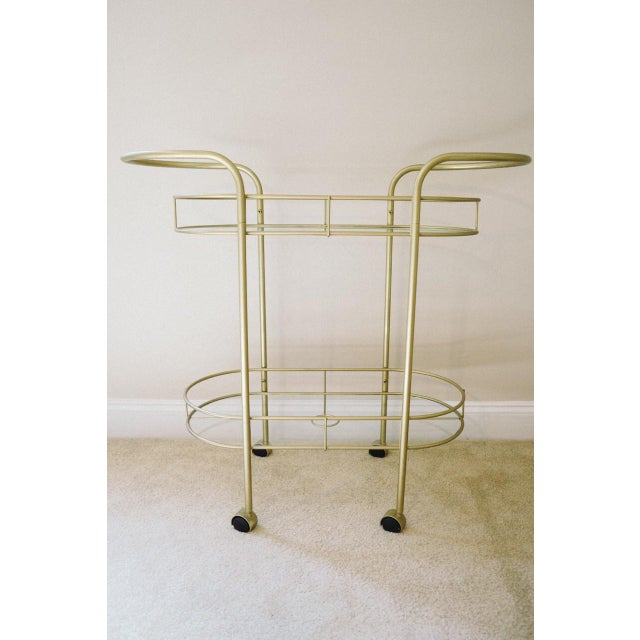 Vintage Mid-Century Gold Metal & Glass Bar Cart - Image 2 of 6