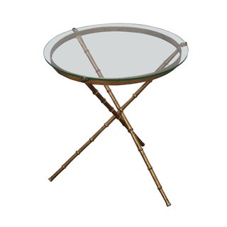 Vintage Gilt Metal Faux Bamboo Side Table