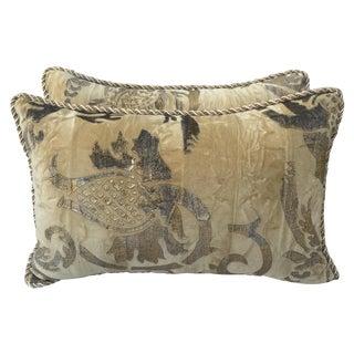 Gold Hand-Stenciled Velvet Pillows - A Pair