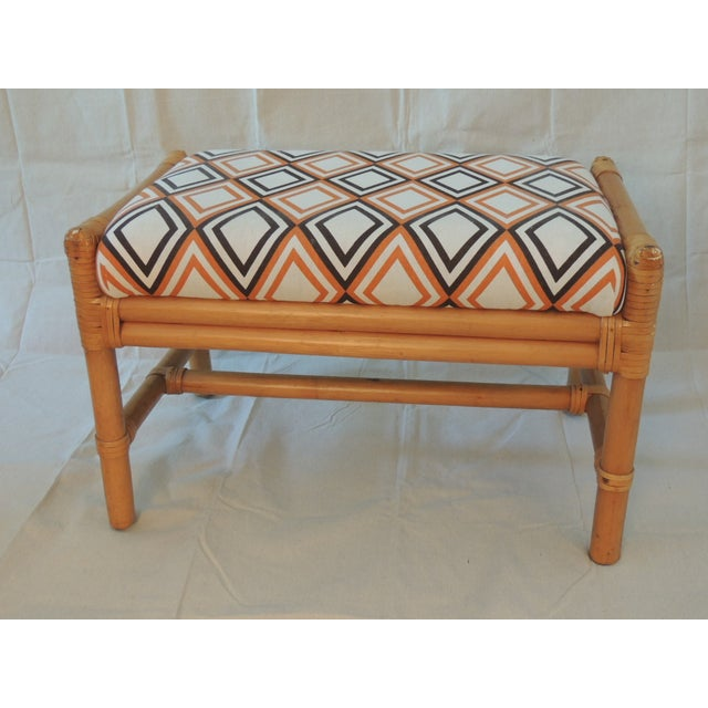Vintage Bamboo Bench With Mod Upholstery Fabric - Image 2 of 4