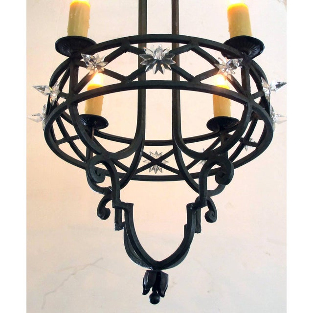 Well-Crafted Spanish Dark Green Painted Hand-Wrought iron Four-Light Chandelier - Image 5 of 5
